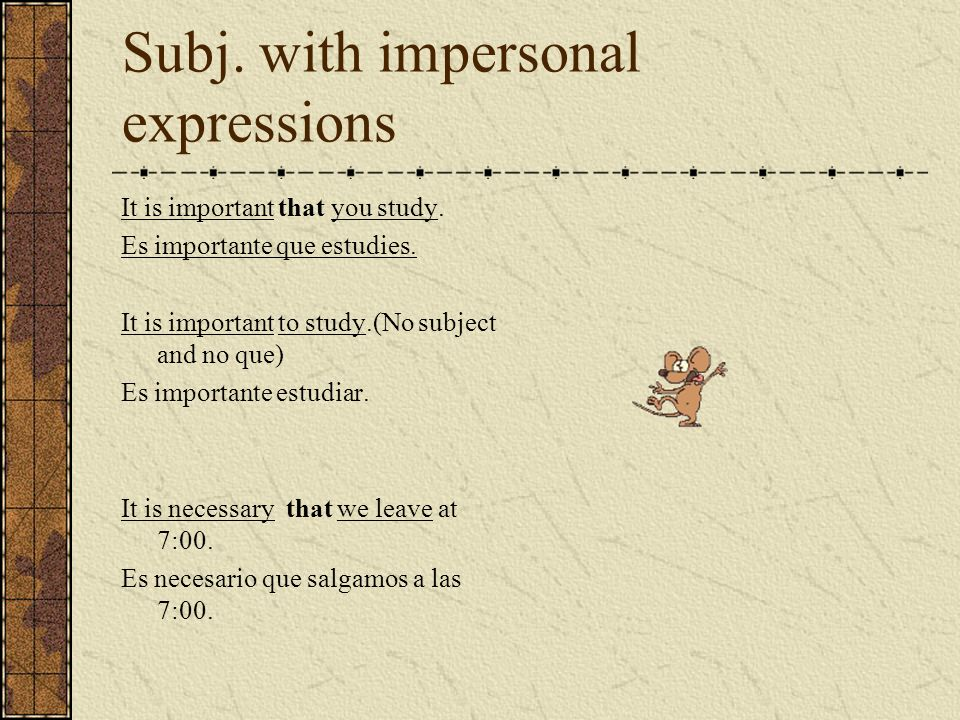 Subj. with impersonal expressions