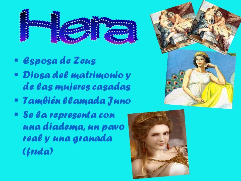 Hera Esposa de Zeus Diosa del matrimonio y de las mujeres casadas