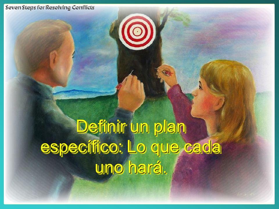 Definir un plan específico: Lo que cada uno hará.
