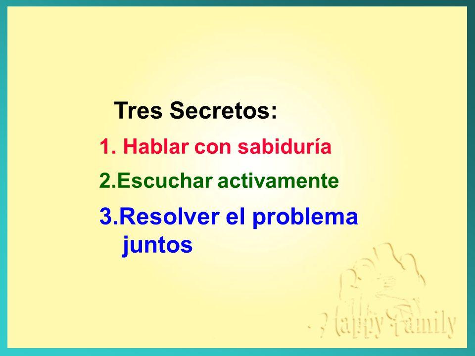 Tres Secretos: 3.Resolver el problema juntos Hablar con sabiduría