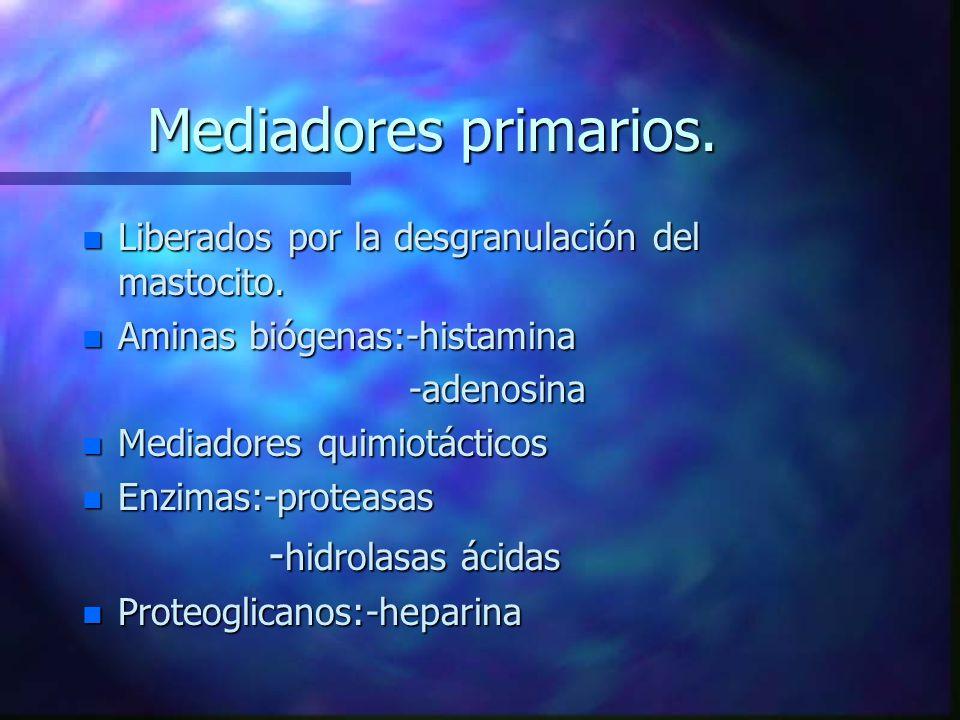 Mediadores primarios. -hidrolasas ácidas