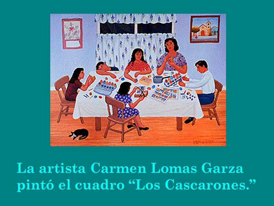 La artista Carmen Lomas Garza pintó el cuadro Los Cascarones.