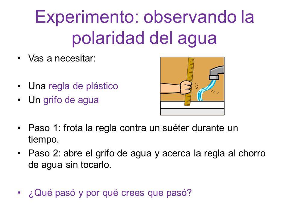 Experimento: observando la polaridad del agua