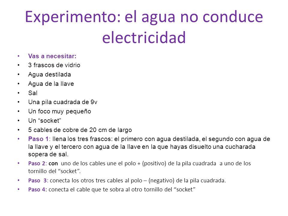 Experimento: el agua no conduce electricidad