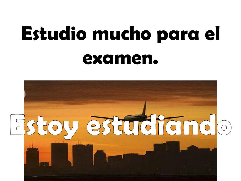 Estudio mucho para el examen.