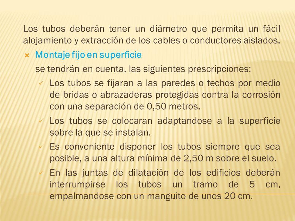 Los tubos deberán tener un diámetro que permita un fácil alojamiento y extracción de los cables o conductores aislados.