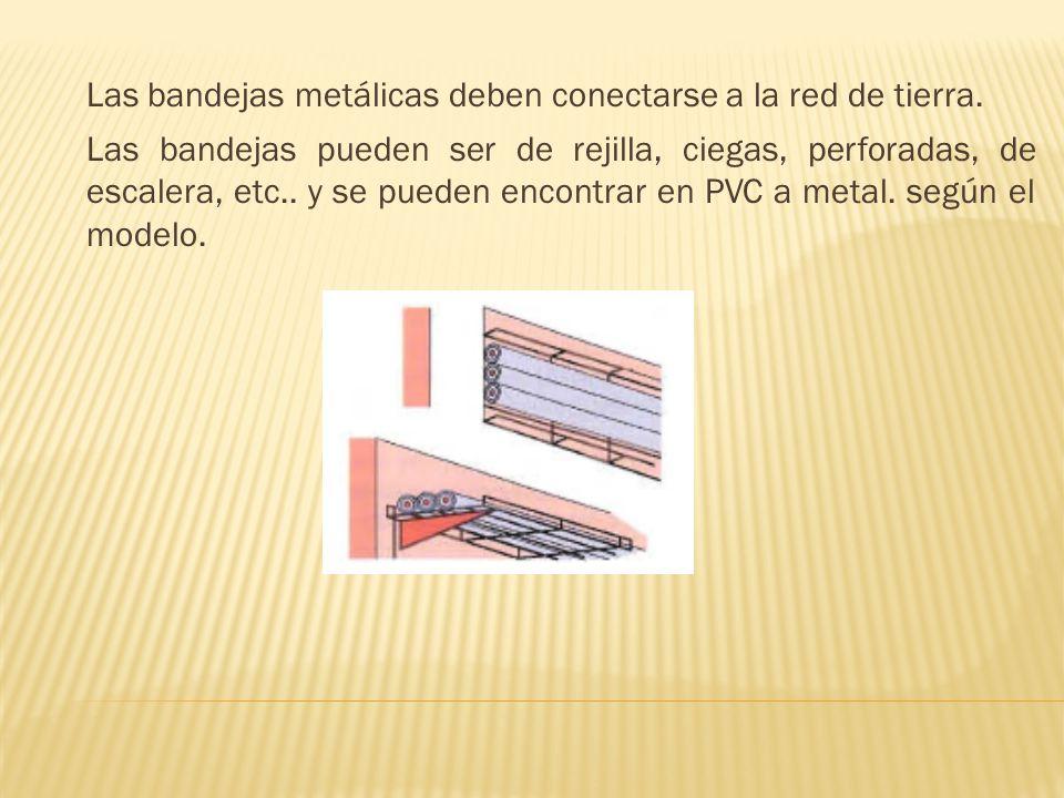 Las bandejas metálicas deben conectarse a la red de tierra.