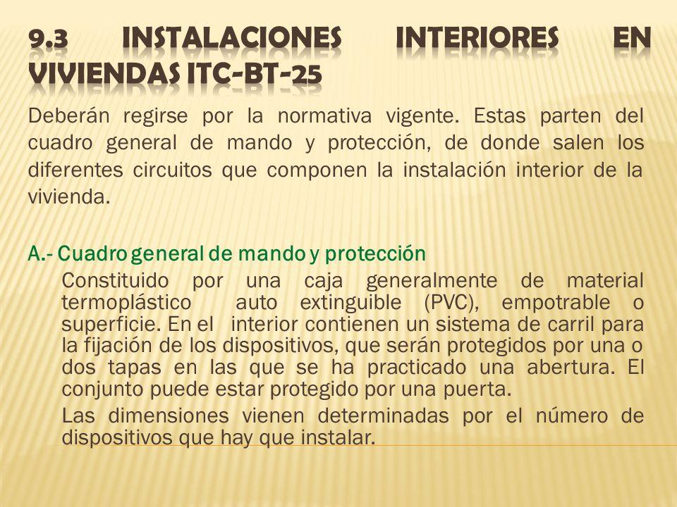 9.3 INSTALACIONES INTERIORES EN VIVIENDAS itc-bt-25