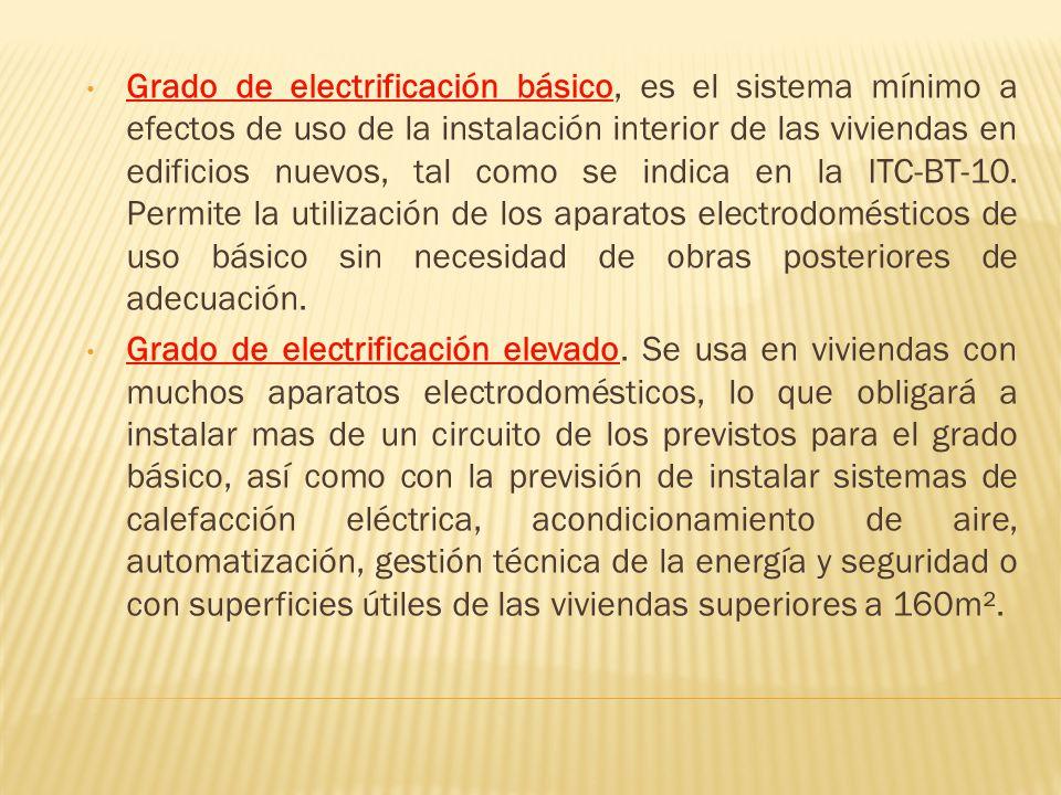 Grado de electrificación básico, es el sistema mínimo a efectos de uso de la instalación interior de las viviendas en edificios nuevos, tal como se indica en la ITC-BT-10. Permite la utilización de los aparatos electrodomésticos de uso básico sin necesidad de obras posteriores de adecuación.
