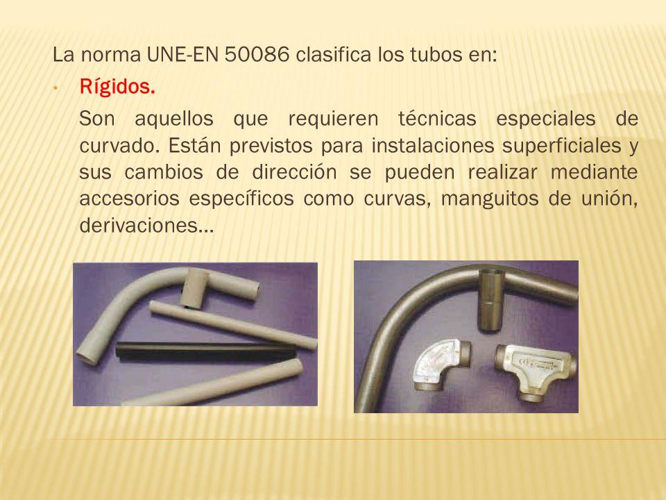 La norma UNE-EN 50086 clasifica los tubos en:
