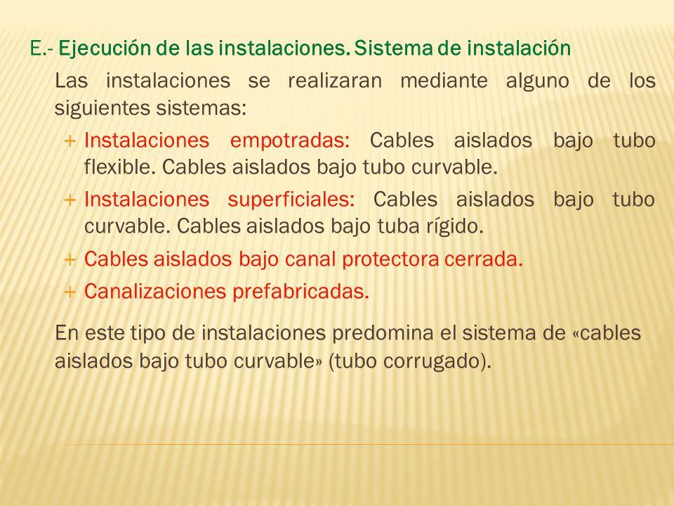 E.- Ejecución de las instalaciones. Sistema de instalación