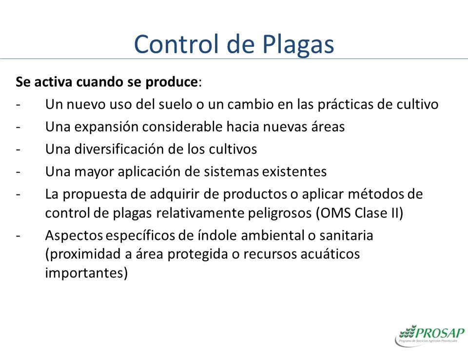 Control de Plagas Se activa cuando se produce: