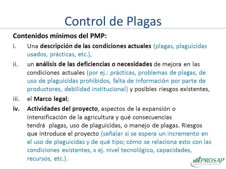 Control de Plagas Contenidos mínimos del PMP: