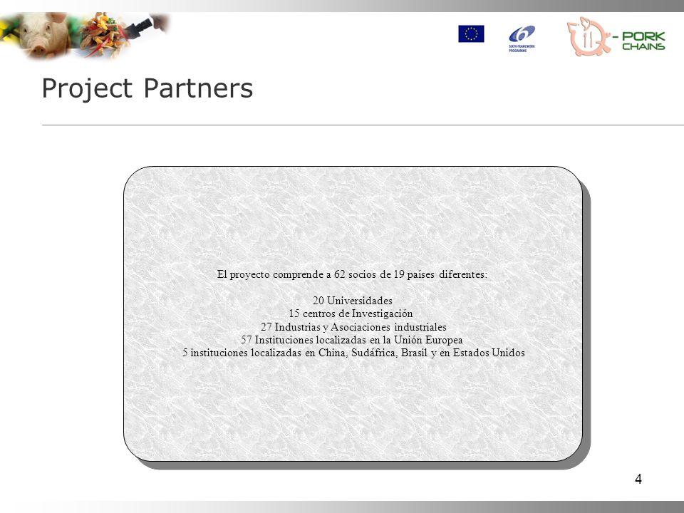 Project Partners El proyecto comprende a 62 socios de 19 países diferentes: 20 Universidades. 15 centros de Investigación.