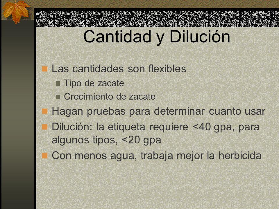 Cantidad y Dilución Las cantidades son flexibles