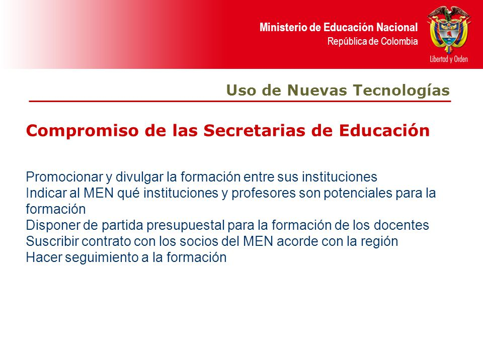 Compromiso de las Secretarias de Educación
