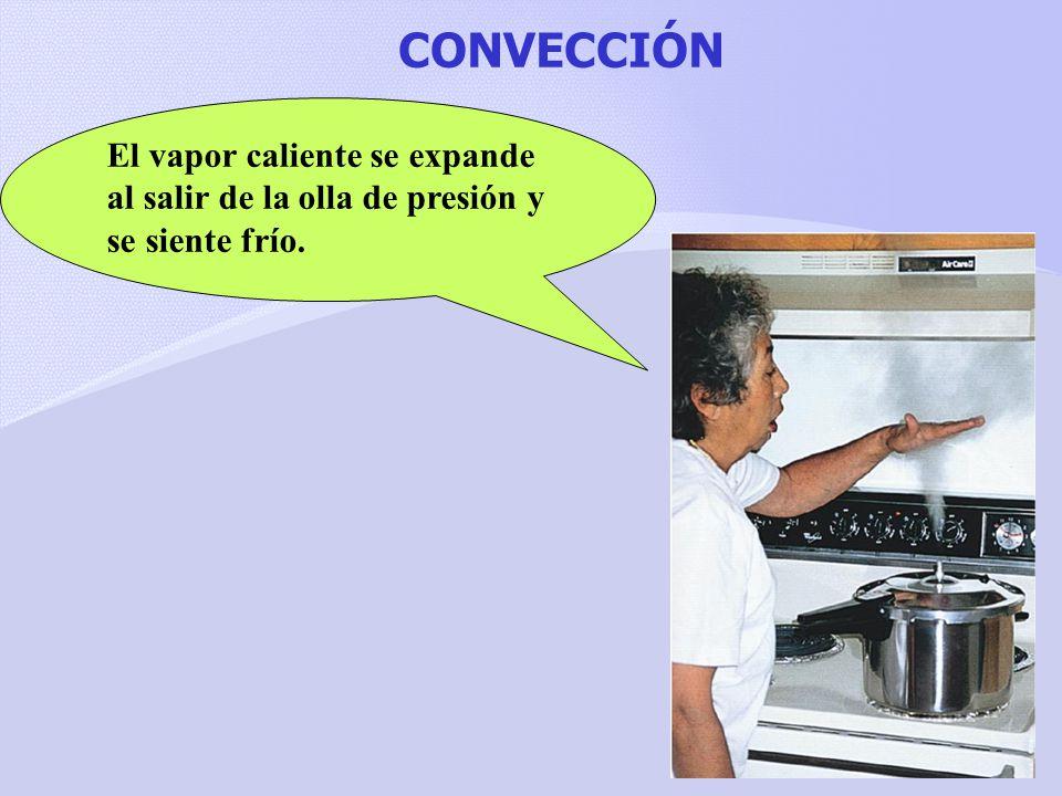 CONVECCIÓN El vapor caliente se expande al salir de la olla de presión y se siente frío.