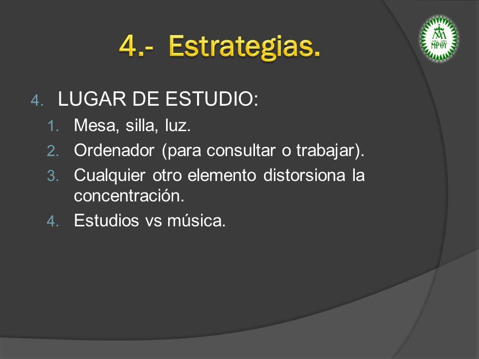 4.- Estrategias. LUGAR DE ESTUDIO: Mesa, silla, luz.