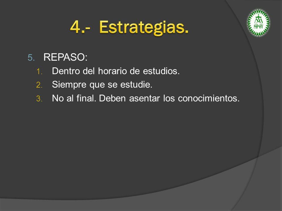 4.- Estrategias. REPASO: Dentro del horario de estudios.