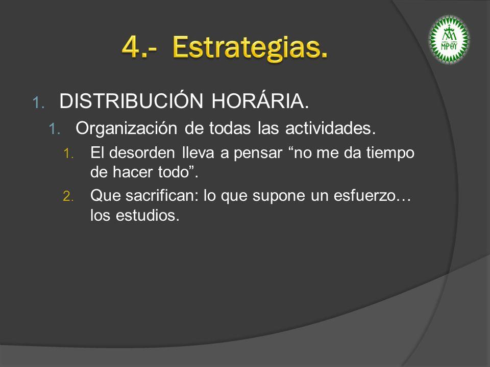 4.- Estrategias. DISTRIBUCIÓN HORÁRIA.