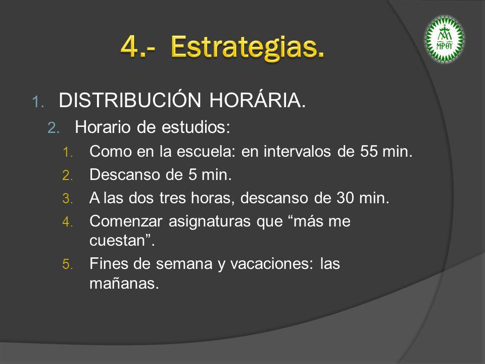 4.- Estrategias. DISTRIBUCIÓN HORÁRIA. Horario de estudios: