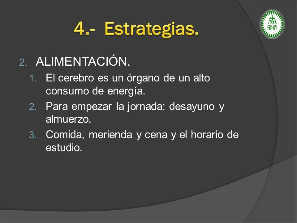 4.- Estrategias. ALIMENTACIÓN.