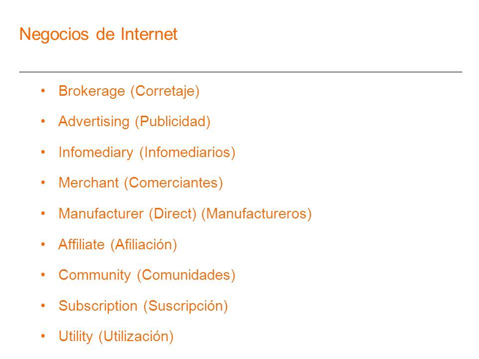 Negocios de Internet Brokerage (Corretaje) Advertising (Publicidad)