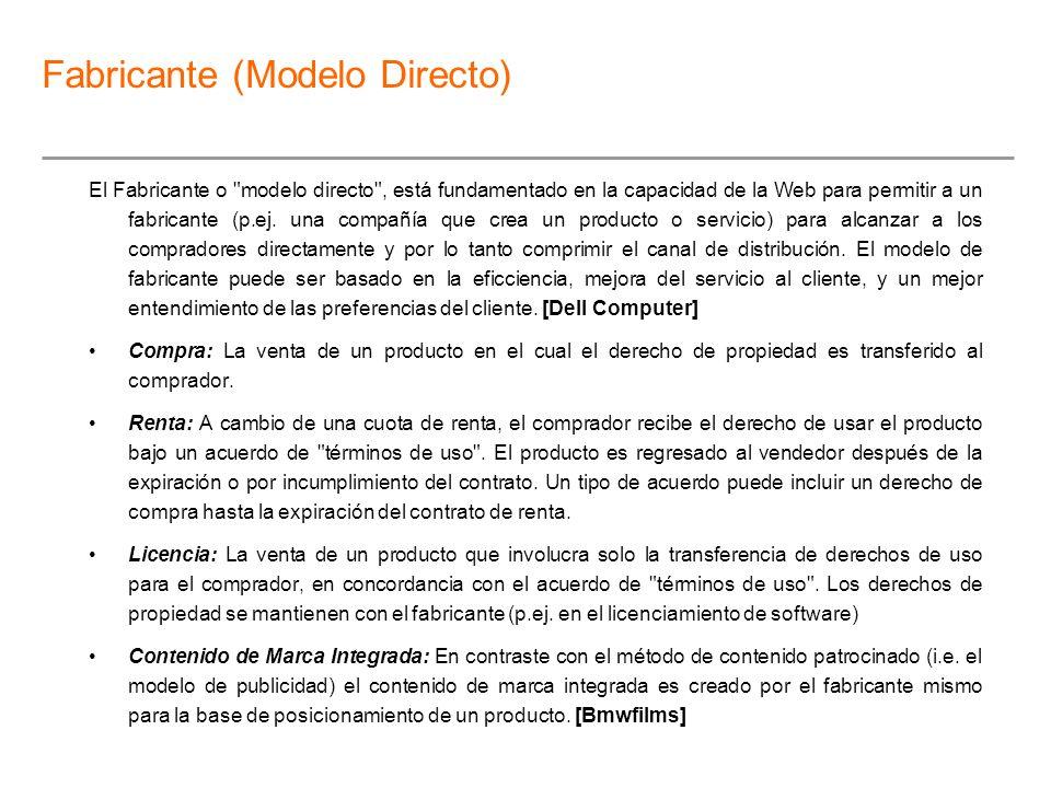 Fabricante (Modelo Directo)