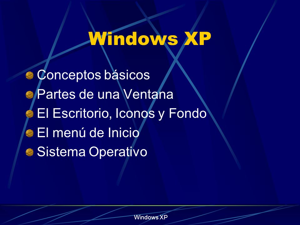 Windows XP Conceptos básicos Partes de una Ventana