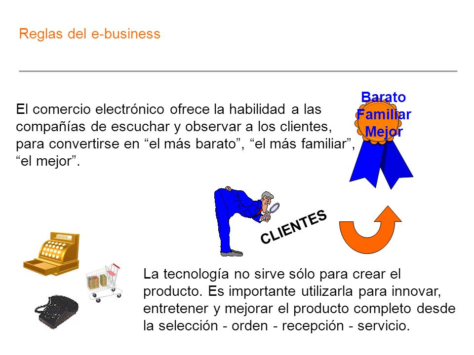 Reglas del e-business Barato. Familiar. Mejor.