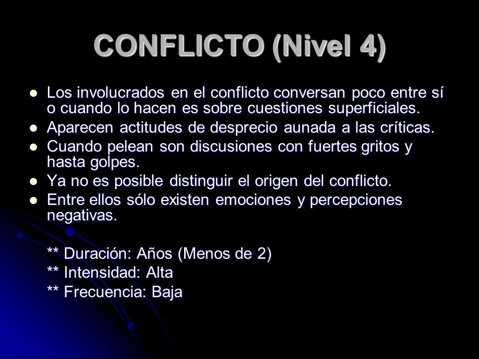 CONFLICTO (Nivel 4) Los involucrados en el conflicto conversan poco entre sí o cuando lo hacen es sobre cuestiones superficiales.