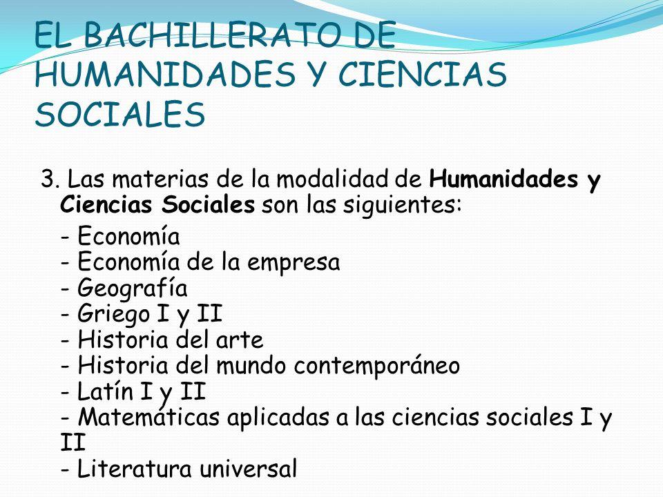 EL BACHILLERATO DE HUMANIDADES Y CIENCIAS SOCIALES