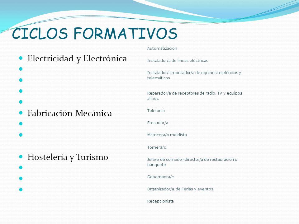CICLOS FORMATIVOS Electricidad y Electrónica Fabricación Mecánica