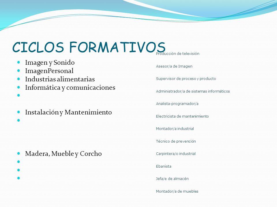CICLOS FORMATIVOS Imagen y Sonido ImagenPersonal