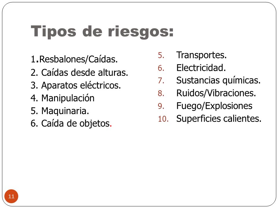 Tipos de riesgos: Transportes.