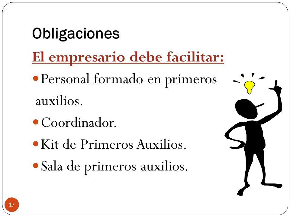 Obligaciones El empresario debe facilitar: Personal formado en primeros. auxilios. Coordinador. Kit de Primeros Auxilios.