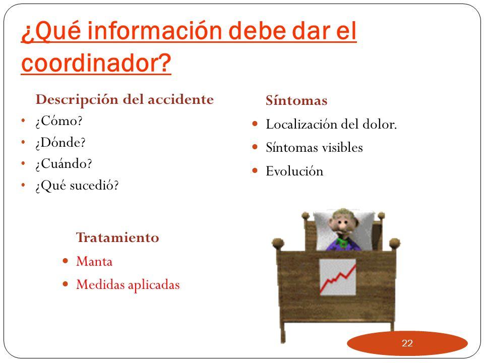 ¿Qué información debe dar el coordinador
