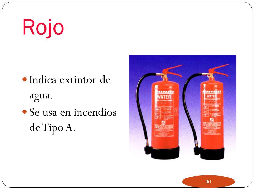 Rojo Indica extintor de agua. Se usa en incendios de Tipo A.