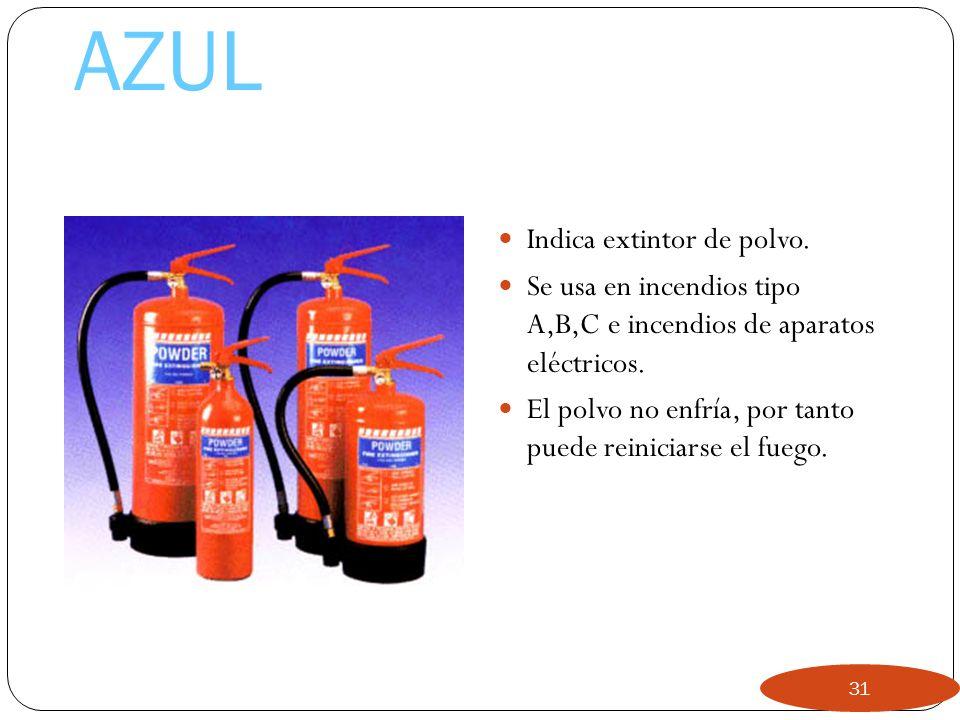 AZUL Indica extintor de polvo.