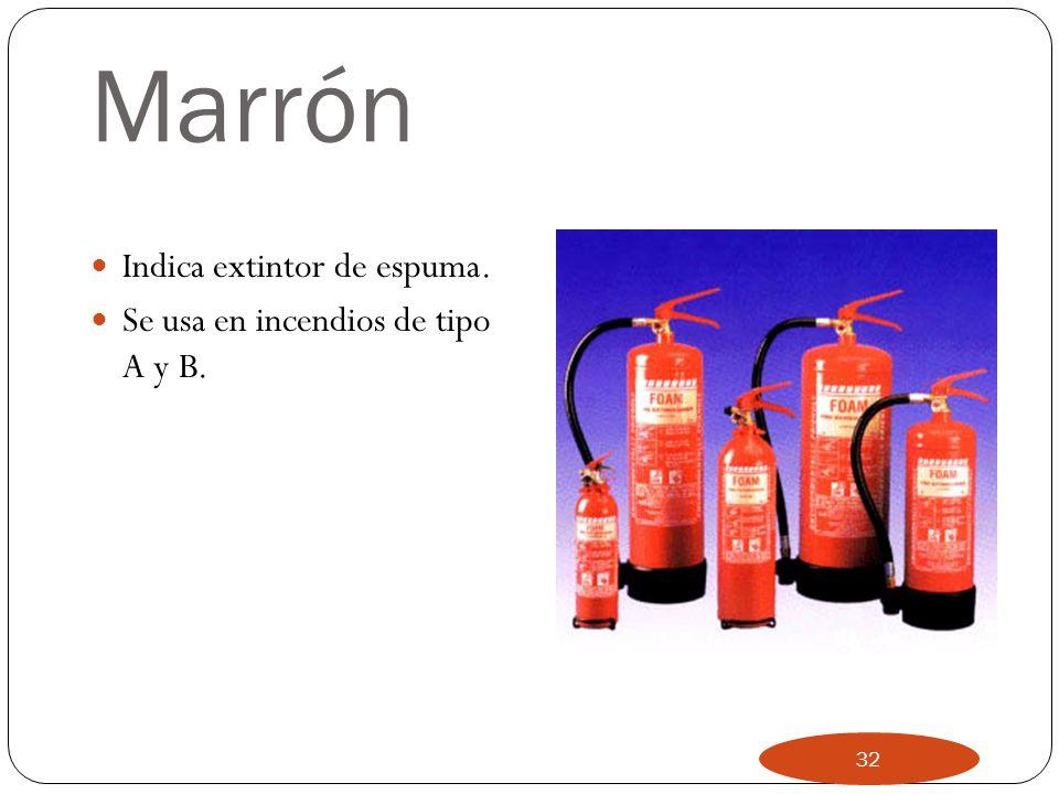 Marrón Indica extintor de espuma. Se usa en incendios de tipo A y B.