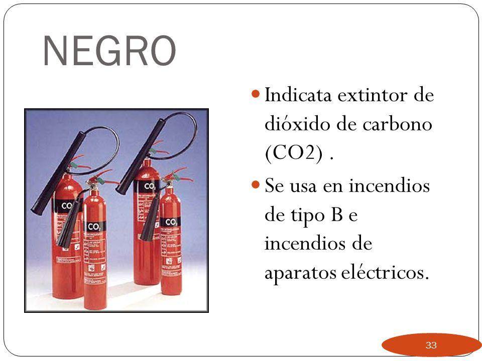 NEGRO Indicata extintor de dióxido de carbono (CO2) .