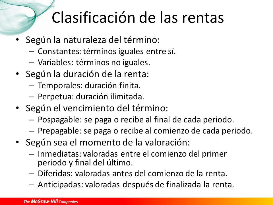 Clasificación de las rentas