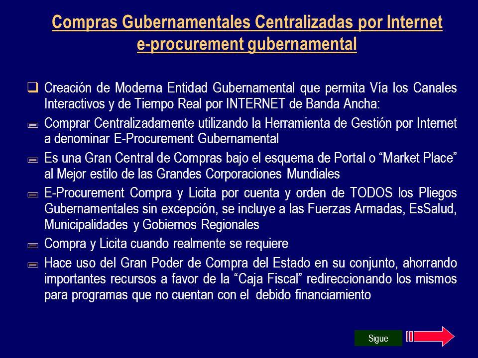 Compras Gubernamentales Centralizadas por Internet e-procurement gubernamental