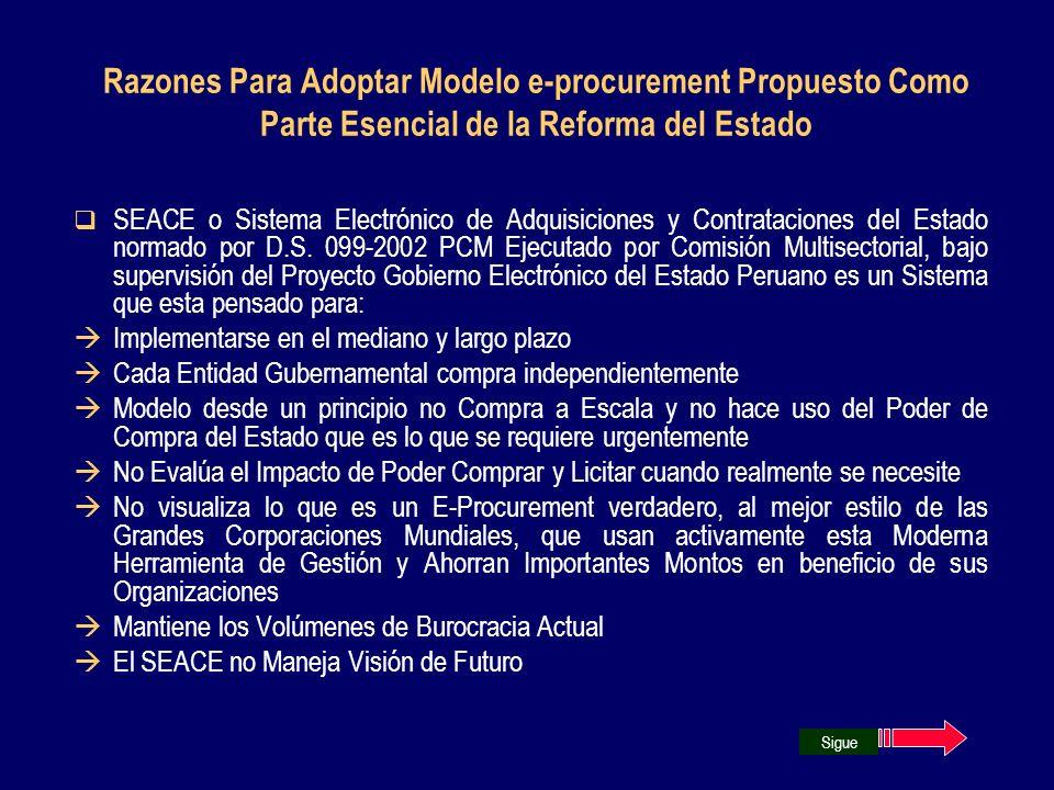 Razones Para Adoptar Modelo e-procurement Propuesto Como Parte Esencial de la Reforma del Estado