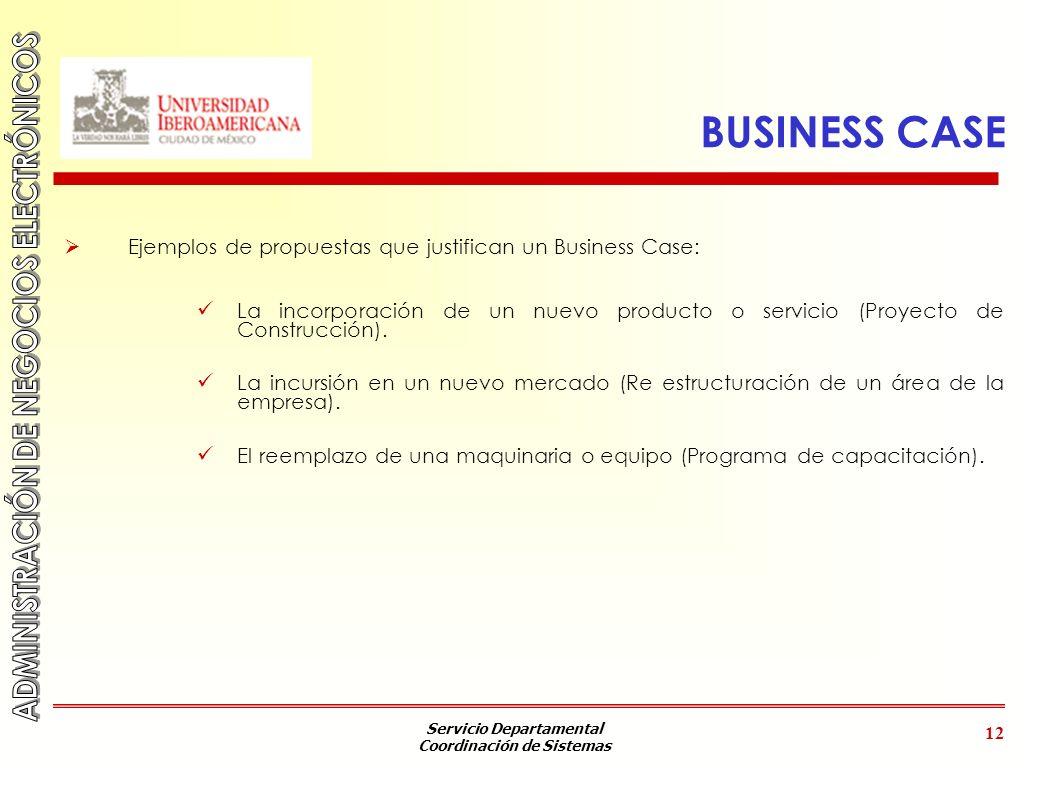 BUSINESS CASE Ejemplos de propuestas que justifican un Business Case: