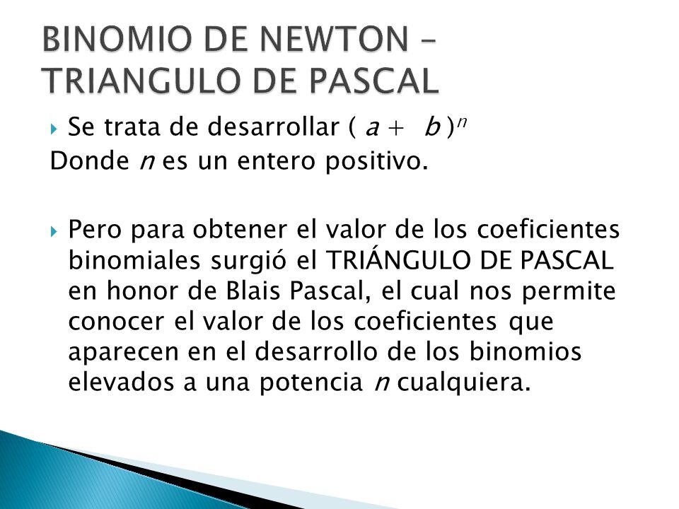 BINOMIO DE NEWTON – TRIANGULO DE PASCAL