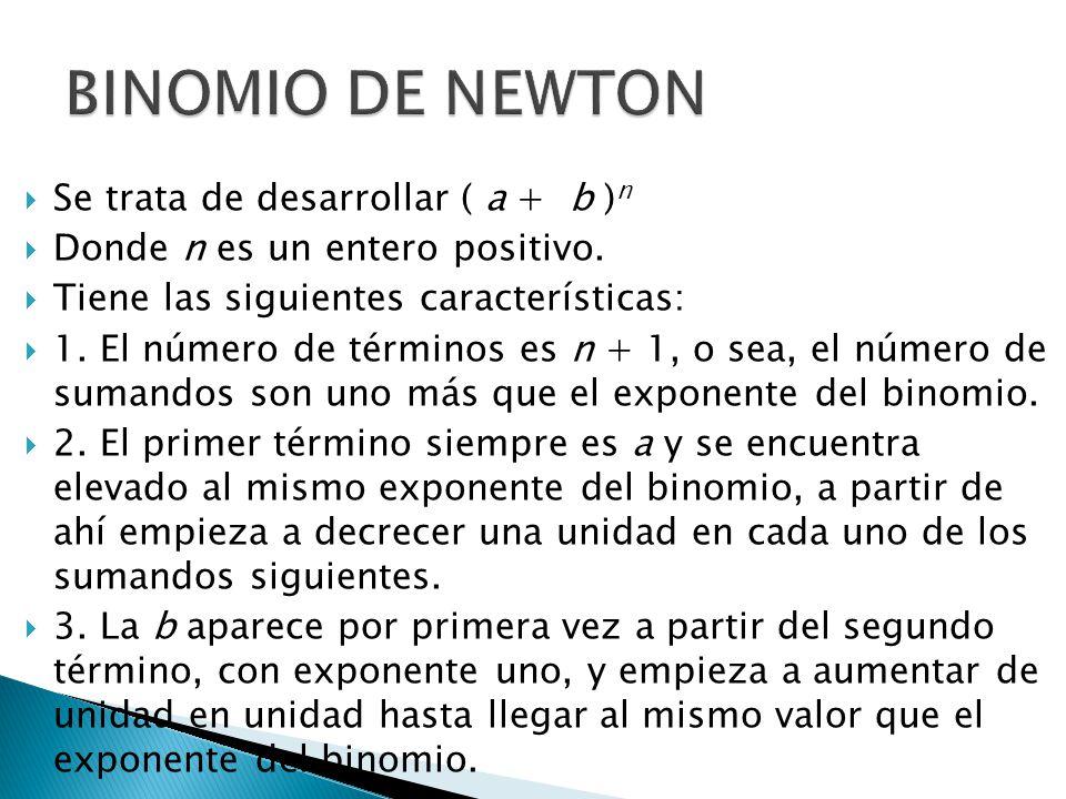 BINOMIO DE NEWTON Se trata de desarrollar ( a + b )n