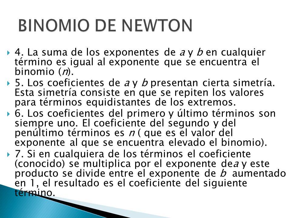 BINOMIO DE NEWTON 4. La suma de los exponentes de a y b en cualquier término es igual al exponente que se encuentra el binomio (n).