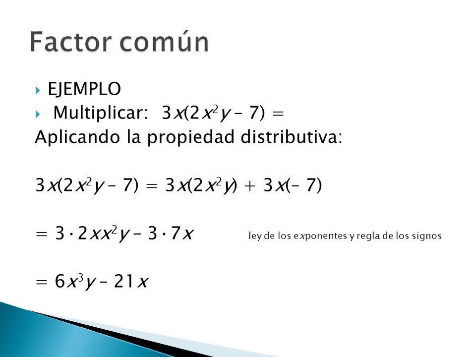 Factor común EJEMPLO Multiplicar: 3x(2x2y – 7) =