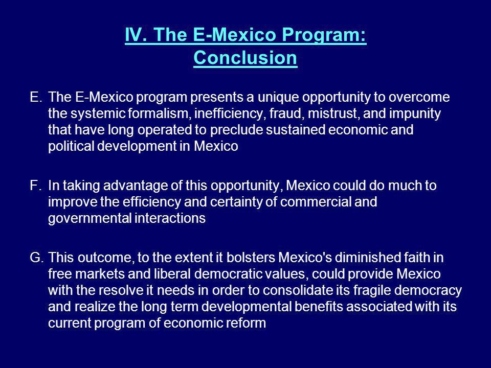 IV. The E-Mexico Program: Conclusion